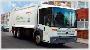 Veolia waste management dump truck.